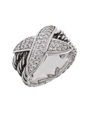 Michela Crossed Band Pave Ring Silver