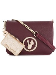 Versace Jeans Front Logo Chain Crossbody Bag Red