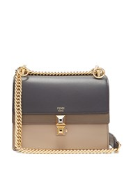 Fendi Kan I Stripe Small Leather Cross Body Bag Navy Multi