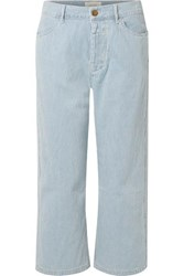 The Great Railroad Cropped Striped Low Rise Straight Leg Jeans Blue
