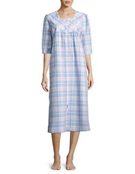 Miss Elaine Embroidered Plaid Nightgown Blue Plaid