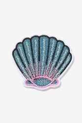 Topshop Shell Iron On Badge Blue