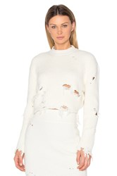 Yeezy Destroyed Crop Boucle Sweater White