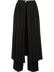 Off White Pleated Panel Trouserss Black