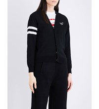 Chocoolate Stripe Detail Cotton Cardigan Black