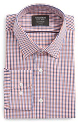 Nordstrom Big And Tall Men's Shop Tech Smart Traditional Fit Check Stretch Dress Shirt Rust Sienna