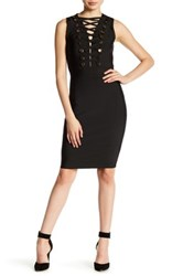 Wow Couture Criss Cross Embellished Bodycon Dress Black