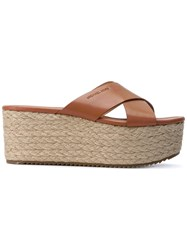 Michael Michael Kors Wedged Cross Sandals Women Calf Leather Leather Rubber 6 Brown