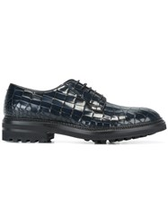 Giorgio Armani Croc Effect Derby Shoes Blue