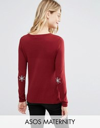 Asos Maternity Holidays Sweater With Snowflake Elbow Patch Red