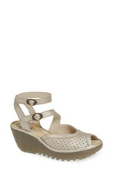 Fly London Yaxi Wedge Sandal Silver Leather