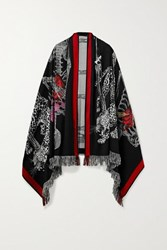 Alexander Mcqueen Fringed Wool Blend Jacquard Scarf Black