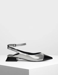 Charles And Keith Leather Pointed Toe Sandals Pewter