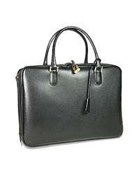 Fontanelli Black Lizard Print Calf Leather Briefcase
