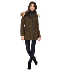 Jessica Simpson Anorak Parka With Faux Fur Trim Military Women's Coat Olive