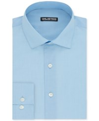 Unlisted By Kenneth Cole Men's Slim Fit Chambray Dress Shirt Light Blue