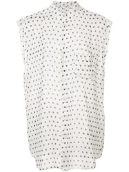 Saint Laurent Sheer Polka Dot Blouse White