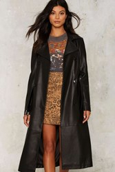 Nasty Gal In The Trenches Vegan Leather Coat Black