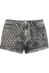 Karl Lagerfeld Steffie Printed Stretch Denim Shorts Gray