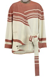 J.W.Anderson Wrap Effect Striped Wool Jacquard Top Red
