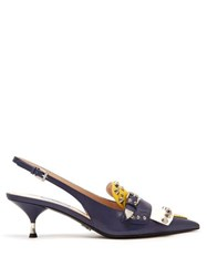 Prada Fringe Trimmed Leather Slingback Pumps Yellow Multi