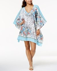 Vince Camuto Wildflower Print Caftan Cover Up Women's Swimsuit White Multi