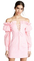 Jourden Striped Lolita Off Shoulder Dress Pink Multi