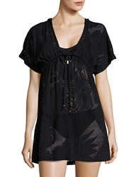 J Valdi Hooded Sheer Cover Up Black