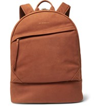 Want Les Essentiels Kastrup Leather Trimmed Suede Backpack Tan