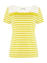 Dickins And Jones Stripe And Broderie Top Mustard