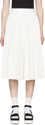 Msgm White Faux Leather Pleated Skirt