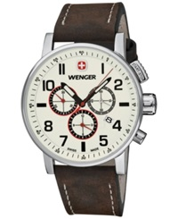 Wenger Men's Swiss Chronograph Commando Brown Leather Strap Watch 43Mm 01.1243.105
