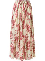 Forte Forte Pleated Floral Print Skirt Cotton Silk Nude Neutrals