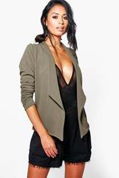 Boohoo Waterfall Blazer With Ruched Sleeve Khaki