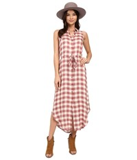 Bb Dakota Lance Rayon Buffalo Plaid Button Front Maxi Dress Tea Rose Women's Dress Red