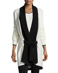 St. John Belted Soft Links Knit Cardigan Bright Alabaster Caviar