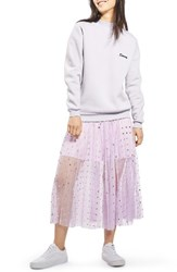 Topshop Women's Foil Dot Pleat Midi Skirt Lilac