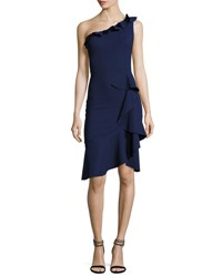 La Petite Robe Di Chiara Boni Cornelie One Shoulder Ruffled Faux Wrap Dress Navy