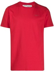 Off White Unfinished Short Sleeve Tee Red