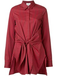 3.1 Phillip Lim Front Tied Stripe Shirt Red