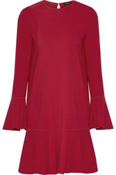 Theory Marah Pleated Crepe Mini Dress Red