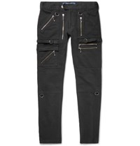 Blackmeans Skinny Fit Zip Detailed Cotton Canvas Trousers Black