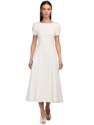Luisa Beccaria Puff Sleeves Stretch Cotton Midi Dress Ivory