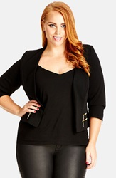 City Chic 'Side Zip' Open Front Jacket Plus Size Black