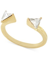 Bcbgeneration Gold Tone Crystal Triangle Stack Ring