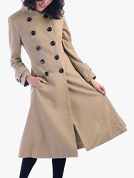 Jolie Moi Double Breasted Flared Coat Camel