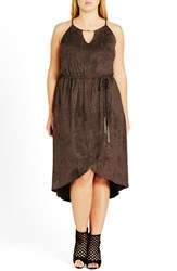 City Chic Plus Size Women's Faux Suede High Low Dress