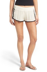 Junior Women's Rip Curl 'Oceana' Embellished Shorts Vanilla