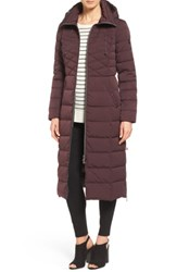 Bernardo Quilted Long Coat With Down And Primaloft Fill Dark Plum