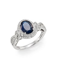 Effy Sapphire Diamond And 14K White Gold Ring Blue